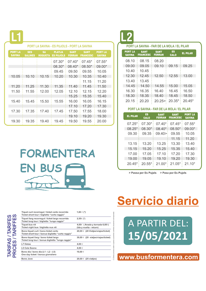Daily service for L1 and L2 lines plus new route serving market in La Mola